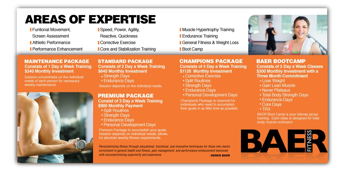 Baer Fitness Brochure Design Inside